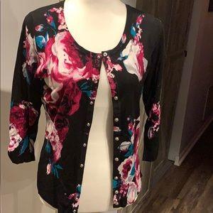 WHBM floral cardigan